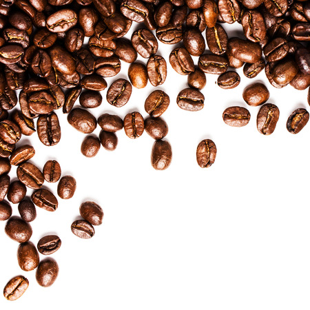 large bean: Roasted Coffee Beans  background texture isolated on white background frame with copy space for text, macro. Fragrant fried coffee beans.