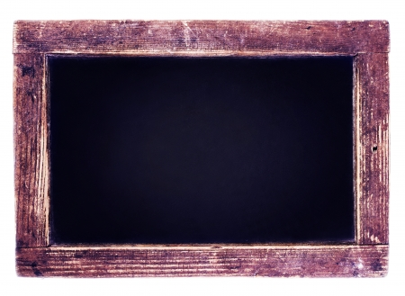 Vintage blackboard isolated on white  background. Blank Chalk board with copy space photo