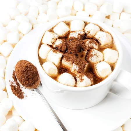 Hot cocoa with chocolate and small white marchmallows on white background top view photo
