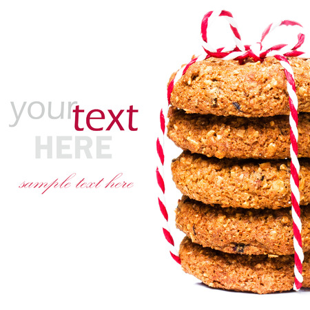 Christmas cookies with festive decoration isolated  on white background (with easy removable sample text)  photo