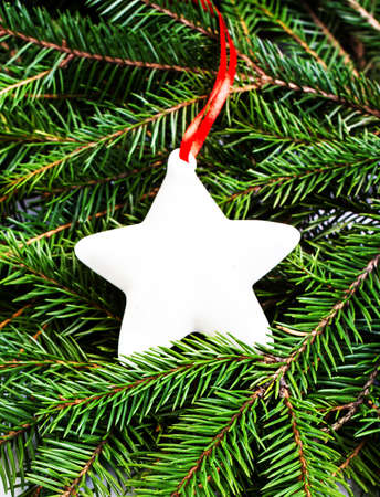 Christmas Fir Tree Branches and Christmas decoration with white Star and Red Ribbon  . Christmas Card. photo