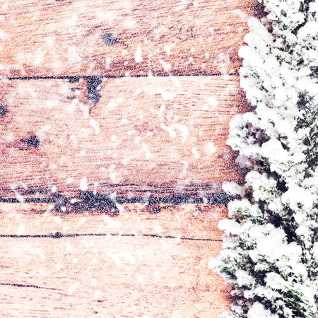 old fashioned christmas: Old fashioned  Christmas Card with Fir tree covered with snow on wooden board. Christmas rustic wooden background with copy space for greeting text.  Stock Photo