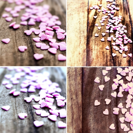 Set of  Valentines Day backgrounds with hearts. Collection of  Sugar Hearts on wooden vintage textured background or table.  photo