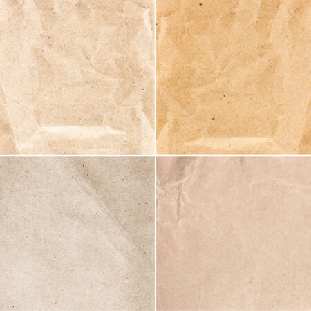 Set of  Crumpled recycled paper  texture or backgrounds in natural bright pastel colors. Collection of   Vintage craft paper texture. photo