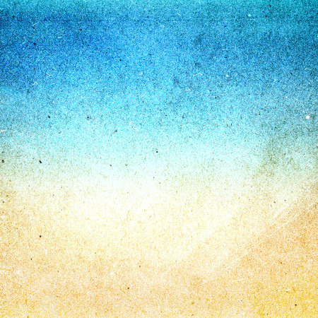 Summer beach recycled paper textured background with film grain. Abstract  grunge paper texture.  Highly detailed frame. Banco de Imagens
