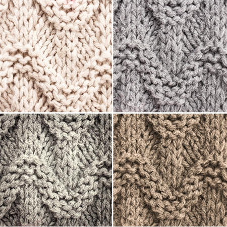 Set of Knitted Woolen textile background for winter time. Collection of  knitting background texture in white and grey pastel color.  photo