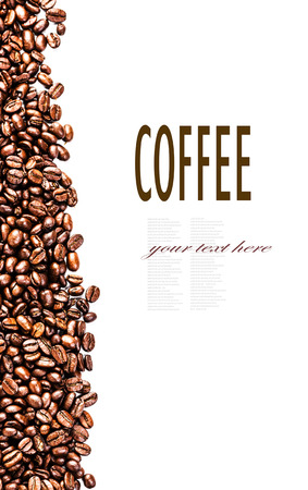 robusta: Roasted Coffee Beans background texture isolated on white background frame with copy space for text, macro.