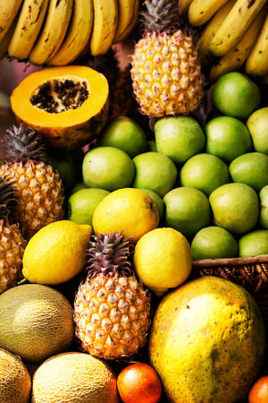 Collection of fruits and vegetables close up photo