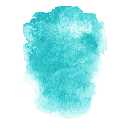 Colorful blue wet ink  spot, watercolor abstract hand painted textured background isolated on white.