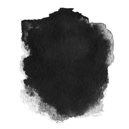 dessin noir et blanc: La tache noire, aquarelle abstraite main peint fond textur� isol� sur blanc Banque d'images