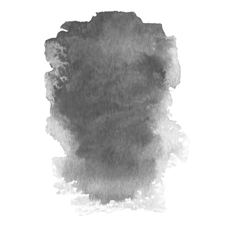 Abstract watercolor art hand paint gray color on white background photo