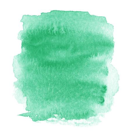 明るいグリーン スポット、水彩抽象手描きのテクスチャ背景白で隔離。 写真素材