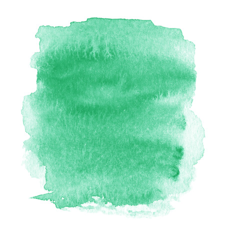 Bright green  spot, watercolor abstract hand painted textured background isolated on white.