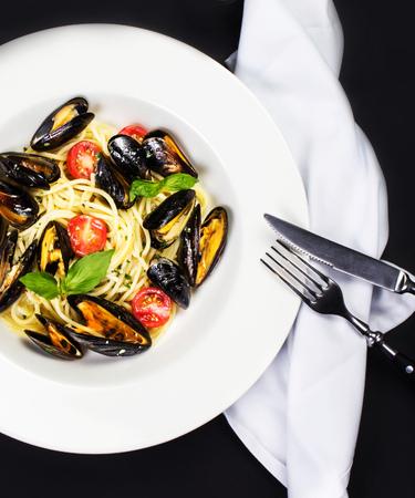 Gourmet Shellfish with fresh italian pasta photo