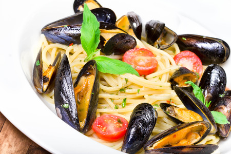 seafood platter: Seafood  Pasta with mussels and basil for a tasty sea food meal macro