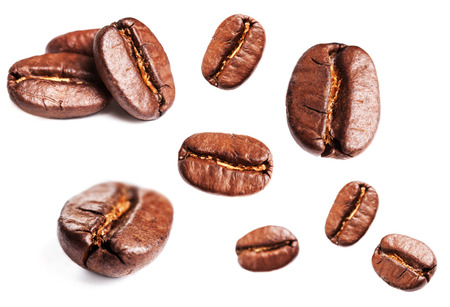 Collection of Fresh Coffee beans isolated on white background, closeup, macro