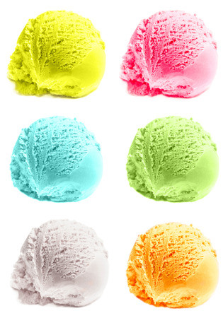 Four isolated scoops of ice cream. Mixed Scoops of green tea, mint,  vanilla, mango Ice-Cream Balls Macro.