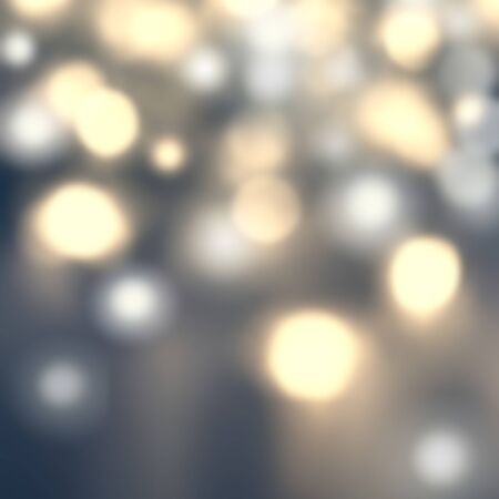 bokeh background: Defocused Bokeh twinkling lights - Glitter Abstract circular bokeh background of Christmas light. Gold, silver, yellow and grey. Vintage background. Stock Photo
