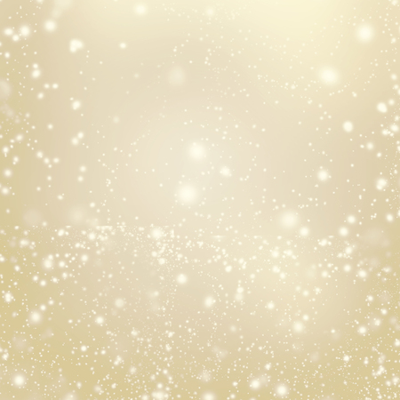 Abstract Gold glittering christmas lights - Blurred  background with Falling Snow. Poster, Banner, Card or invitation.