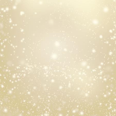 Światła: Streszczenie złota błyszczące Christmas Lights - niewyraźne tło z padającego śniegu. Plakat, transparent, kartka lub zaproszenie.