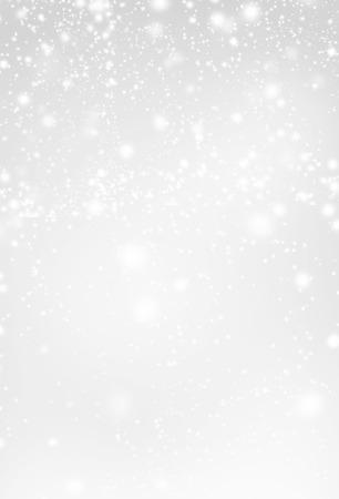 抽象的なシルバー クリスマス背景白い光。雪の落下でお祭りの背景。ポスター、バナー、広告、カードまたは招待状。 写真素材