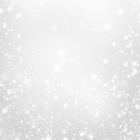 silver christmas: Abstract  Silver Christmas Background with white  lights. Festive  background with Falling Snow. Poster, Banner, Ad, Card or invitation.