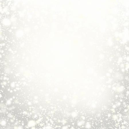 シルバー ライト、星や雪の結晶と美しいクリスマスの背景。抽象的なお祝いは、白とグレーの色を点灯します。