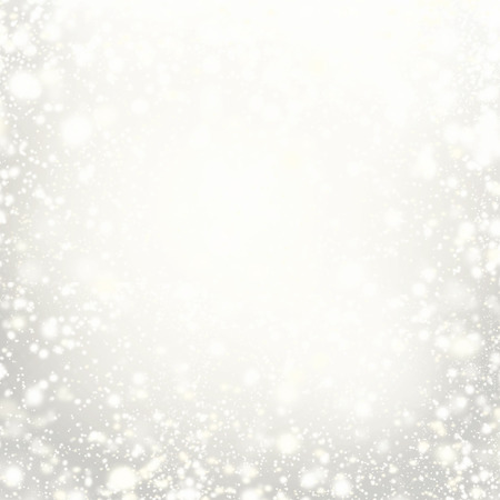 Beautiful Christmas background with silver lights, stars and snowflakes. Abstract Festive lights white and grey color.