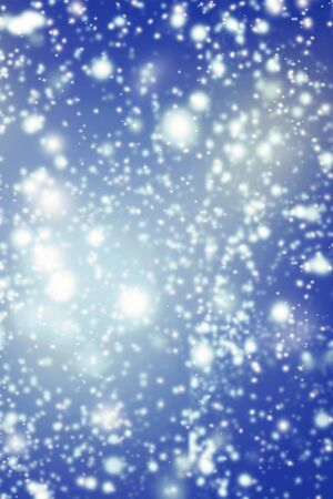 magical fairy: Abstract Background Snowfall from Blue Sky. Snow Falling Effect from Night Blue Sky with stars. Magical Fairy tale Stock Photo