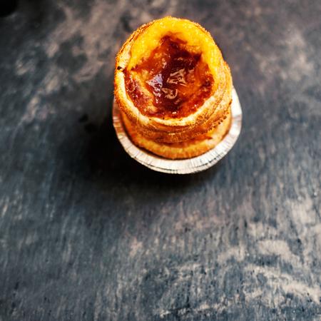 nata: Pastel de nata, portuguese traditional creamy pastry. Pasteis de nata