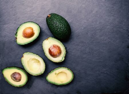 top: Halved avocados. Top view.