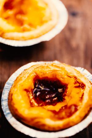 nata: Portugal food - Pasteis de nata, typical Portuguese egg tart pastries Stock Photo