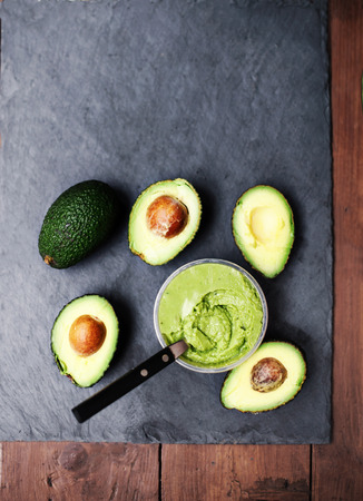Avocado. Avocado spread. Avocado pasta. Guacamole with copy space