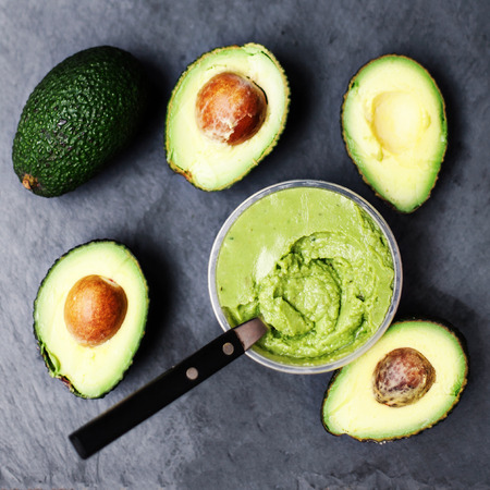 Avocado, Halved avocado, Avocado spread, top view image with copy space
