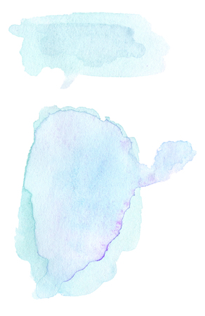 ink stain: Set of Blue ink spots, watercolor tag stain with watercolour paint stroke.