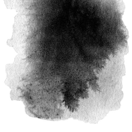blotch: Hand drawn watercolor black stain with water color paint blotch and brush stroke Stock Photo