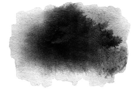 ink stain: Hand drawn watercolor black stain - abstract watercolour spot ink Stock Photo