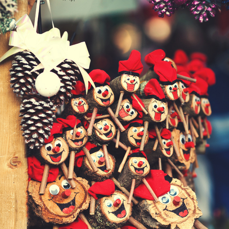 Christmas decorations on the market in Europe - a Tio de Nadal, a traditional  Christmas symbol of Catalonia, Spain