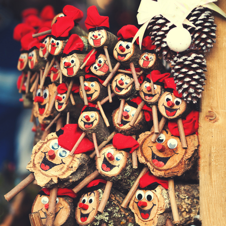 Tio de Nadal, a traditional  Christmas symbol of Catalonia, Spain. Christmas decorations on the market in Europe