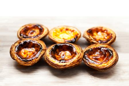 nata: Dessert egg tart sweet custard pie - Pasteis de nata Stock Photo