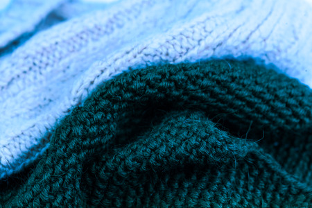 wool texture: Blue knitting wool texture background. Colorful knitted horizontal textured background Stock Photo
