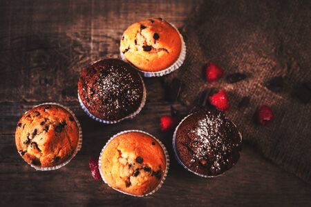 blueberry muffin: Chocolate dark muffins on wooden background with powdered sugar and fresh berries,  close up, selective focus  Stock Photo