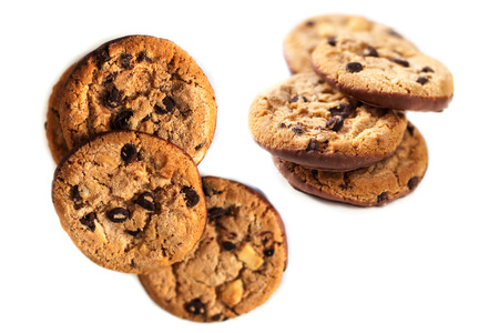 brocken: Chocolate chip cookies isolated  on white background close up   Stock Photo