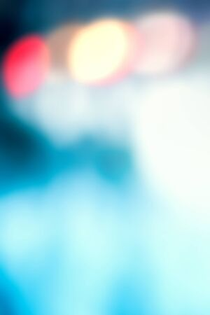 Abstract Blurred blue city lights  background scene with soft bokeh Stock Photo