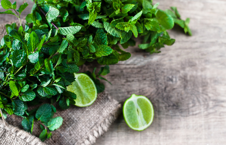 cocktail mixer: Ingredients for mojito. Fresh mint, limes, sugar over wooden  background Stock Photo