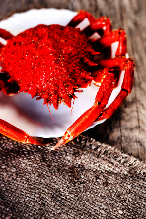 Red Crab  Steamed crab on wooden background. Delicious seafood  Red Crab  Steamed crab on wooden background. Delicious seafood
