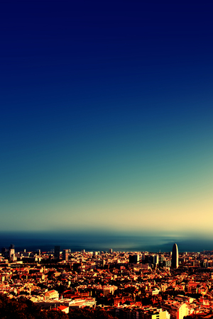 City bird view after sunset , Barcelona beautiful cityscape Stock Photo