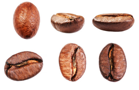 Coffee beans collection  Isolated on white background, closeup, macro