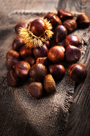 horse chestnut seed: Ripe chestnuts on old wooden table and sack napkin close up with copy space. Raw Chestnuts for Christmas