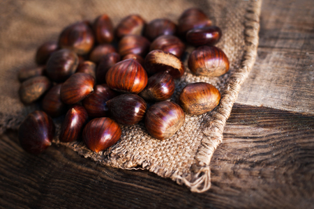 horse chestnut seed: Ripe chestnuts on old wooden table and sack napkin close up with copy space. Roasted Chestnuts for Christmas